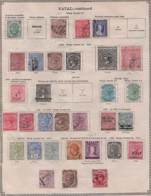 NATAL: 1859-1895 Examples - Ex-Old Time Collection - 2 Sides of Page (12702)