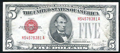 1928-E $5 Five Dollars Red Seal Legal Tender United States Note About Unc (C)
