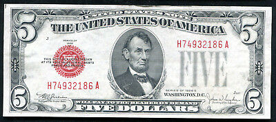 1928-E $5 Five Dollars Red Seal Legal Tender United States Note About Unc (H)