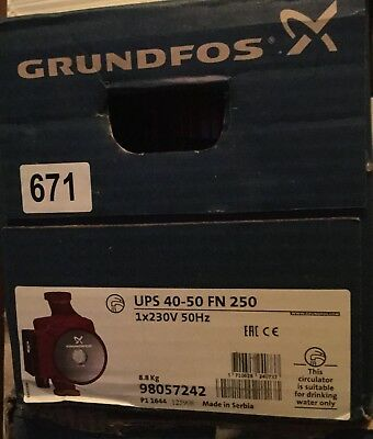 Grundfos UPS 40-50 FN 250 98057242 Stainless Steel Circulating Pump #671 VAT