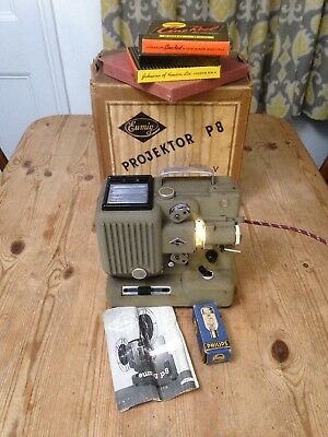 Vintage Eumig P8 8mm Cine Projector with Bulb Box Manual / Needs Attention
