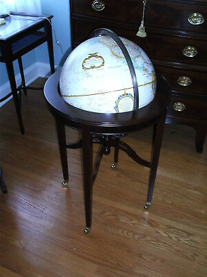 Replogle World Globe on Mahogany Frame with Brass Casters