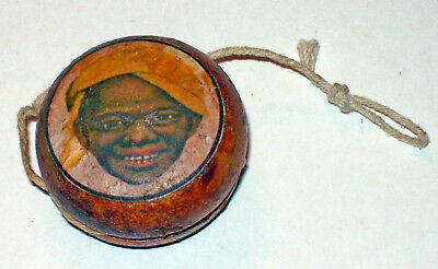 Vintage Black Americana Wooden Black Boy Yoyo With String Toy
