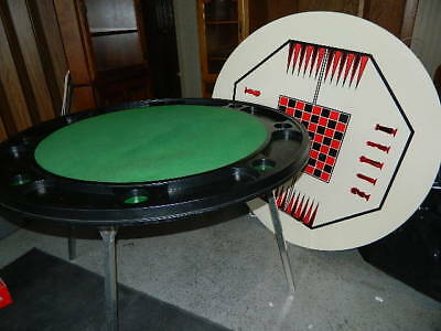 """48"""" Round Folding poker table with chess checkers backgammon game top"""