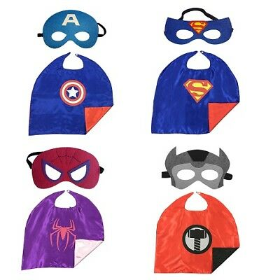 Marvel DC Comic Superhero Cape & Mask Costumes Party Kids dress-up Cosplay Gift
