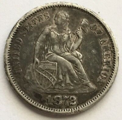 1872-S U.S. Seated Liberty Dime Silver Coin LOW MINTAGE 190,000 (L378)