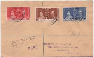 VIRGIN ISLANDS: 1937 Examples on Registered Cover to Glasgow - Cancels (12022)