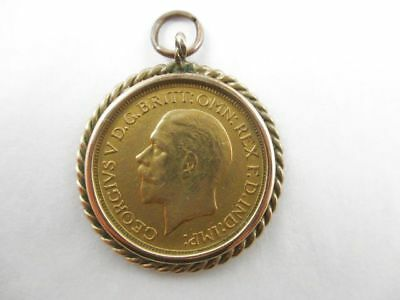 British Sovereign 1931 Gold Coin With Rope Style Bezel