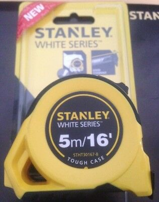 Stanley STHT30176-5 White Series Tough Case Tape Measure 5m 16' 25mm Wide Blade