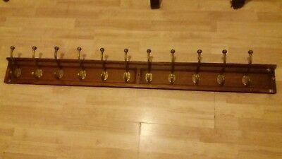 Antique Rustic Wooden Coat Rack Vintage Handmade Brass Hook Coat Hooks