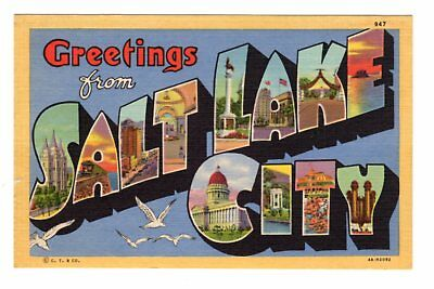 1934 Greetings From Salt Lake City, UT Large Letter Linen Postcard