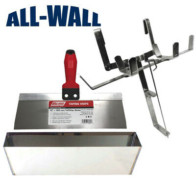 "Drywall Mud Pan/Tape Holder Set with 12"" Stainless Steel Pan and Taping Knife"
