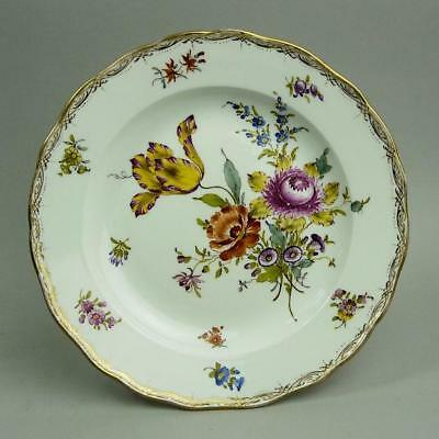 Antique Meissen Hand Painted Floral Design Porcelain Cabinet Plate C.1880