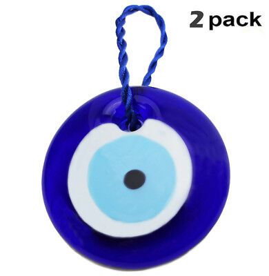 "[2 Pack] 3"" Large Turkish Blue Evil Eye Amulet Wall Hanging Decor Protection"