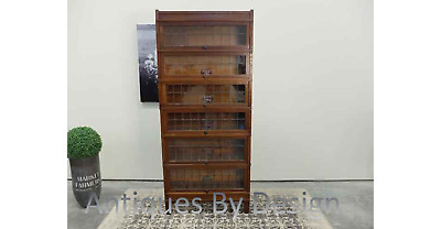 Leaded Glass Globe Wernicke Art Mission Series Oak 6 Section Stacking Bookcase