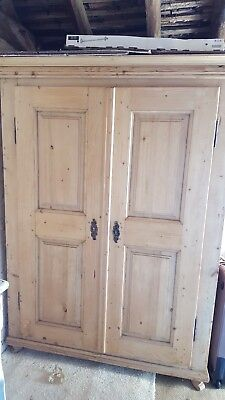 Hungarian Pine Armoire Wardrobe Housekeepers Cupboard Audio Visual storage