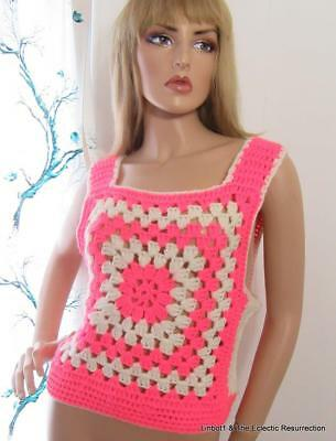 Vintage 1970s Hand Crocheted Vest Granny Square Hippie Boho Neon Hot Pink Large