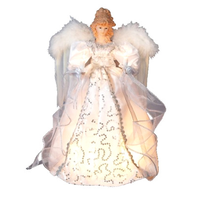 "Light Up Christmas Tree Topper Decoration 14"" Silver Angel Treetop Kurt Adler"