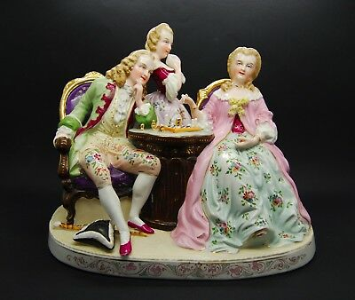 Antique Large Group Chess Players Dresden Porcelain Figure Meissen Unmarked