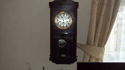 Vintage Junghans Wooden Westminster Chiming Wall Clock with Bevelled Glass