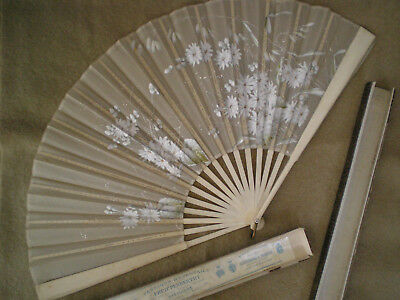 Victorian Hand Painted French Silk Fan with Box from Frederick Penberthy