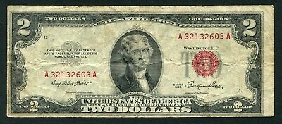 Weeda United States 1953 2 dollars banknote serial A32132603A