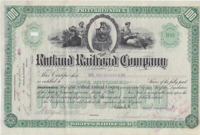 Rutland Rail Road Company  Stock Certificate, Vermont, dated1900 Nice Vignettes