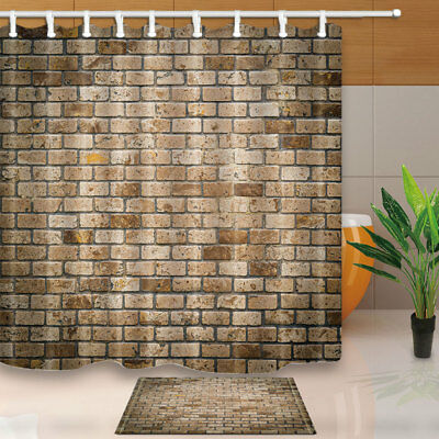 Old Brick Wall Decor Bathroom Fabric Shower Curtain With 12 Hook 71X71 Inches