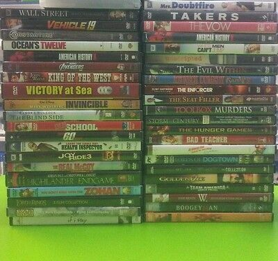 100 Dvds $1 each, FREE SHIPPING, Kids, Horror, Action, Adventure, Drama Comedy