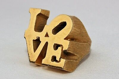 CHARLES REVSON Vtg DESIGNER ROBERT INDIANA CLASSIC 1970'S ICON LOVE RING SZ 5.75