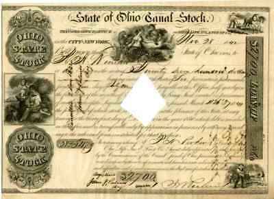 1842 State of Ohio Canal Stock Certificate