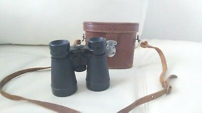 Vintage MADE IN OCCUPIED JAPAN Travel Binoculars With Leather Case