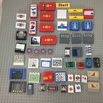Lego large lot of pieces parts with patterns or stickers