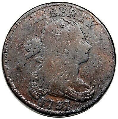 1797 Draped Bust Large Cent, Reverse of '97, Stems, S-137, F detail