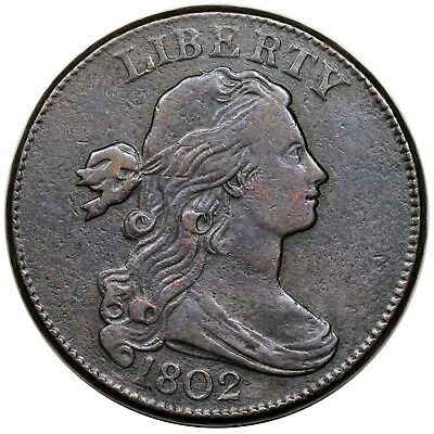 1802 Draped Bust Large Cent, S-230, VF-XF detail