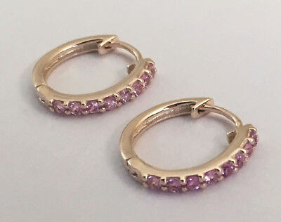 E027 - Genuine 9ct Yellow Gold NATURAL Pink Sapphire HUGGIE Earrings Hoops