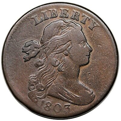 1803 Draped Bust Large Cent, Small Date & Fraction, S-251, LDS, VF detail