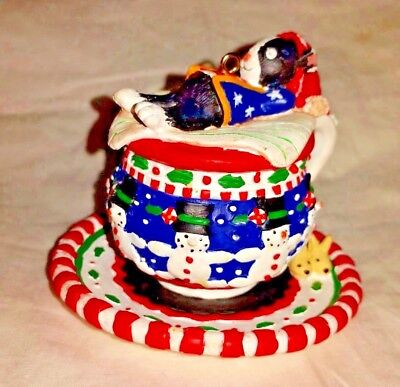 Mary Engelbreit Cup and Saucer Snowman Ornament red white blue Mini ME damaged