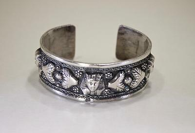 Victorian Antique Hand Wrought Egyptian 800 Silver Bangle Bracelet 7 Inch