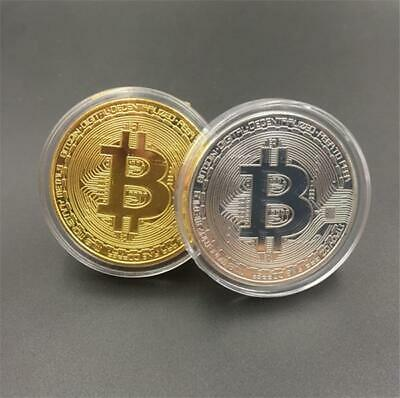 Bitcoin Coin Gold Sliver Plated Collectible BTC Coins Art Collection Gift