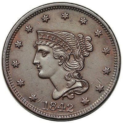 1842 Braided Hair Large Cent, Large Date, N-6, AU-UNC detail