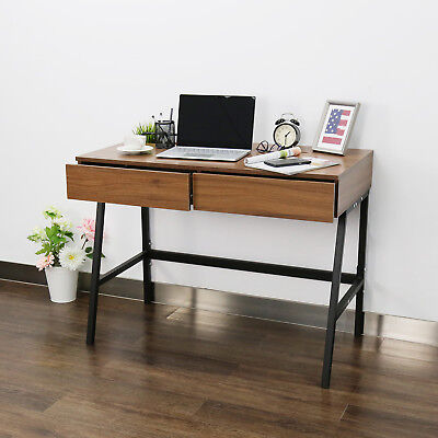 "39"" Office Home Study Desk Workstation Modern Computer Writing Table w/ 2 Drawes"