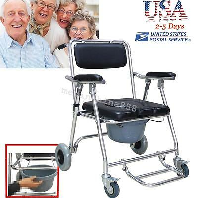 Commode Wheelchair Bedside Toilet & Shower Chair Bathroom Rolling Chair Old USA!