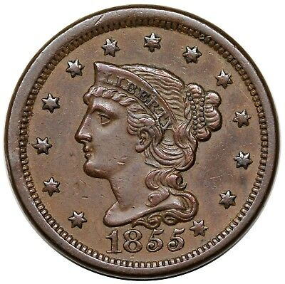 1855 Braided Hair Large Cent, Knob on Ear, N-9, AU