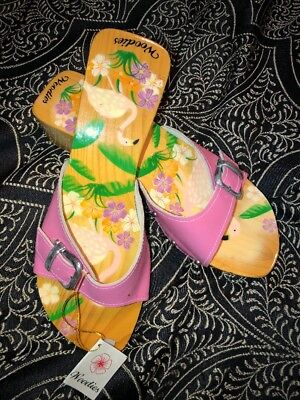 754133681b3f WOODIES SANDALS Hand Painted Magnolias Black - White Slide Size 9 ...