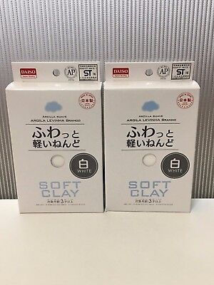 DAISO Japan Soft Lightweight Clay White x2pcs Arcilla Suave Made in JAPAN F/S