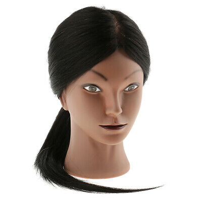 Hairdresser Cosmetology Silicone Training Mannequin Head 80% Real Human Hair