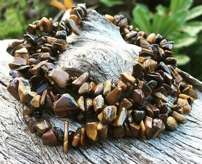 """Hand Made Tiger Eye Necklace, 36"""" Strand Chips, Bohemian Sea Gypsy"""