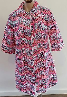 Vintage 60s MOD PSYCHEDELIC PINK PURPLE Floral House Robe Dressing Gown size 12