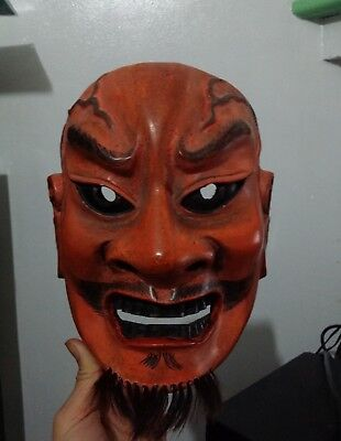 Japanese Traditional Theater Noh mask Demon Evil Mask Wood